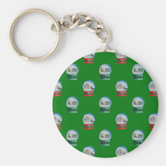 Snow Globes Mixed Pattern on Christmas Green Basic Round Button Keychain