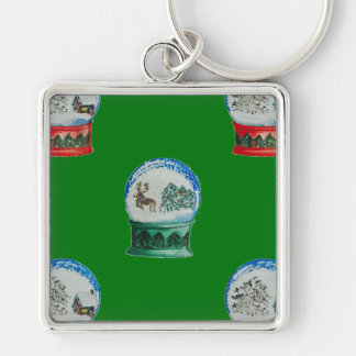 Snow Globes Mixed Pattern on Christmas Green Silver-Colored Square Keychain