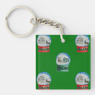 Snow Globes Mixed Pattern on Christmas Green Single-Sided Square Acrylic Keychain