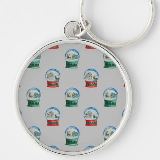Snow Globes Mixed Pattern on Christmas Silver Base Silver-Colored Round Keychain