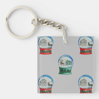 Snow Globes Mixed Pattern on Christmas Silver Base Single-Sided Square Acrylic Keychain