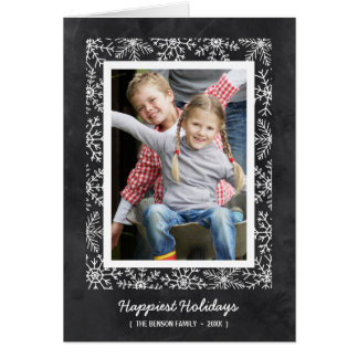 Snowflake Frame   Folded Chalkboard Holiday Photo Greeting Card