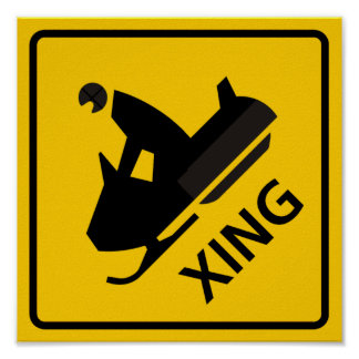 Snowmobile Crossing Highway Sign Poster