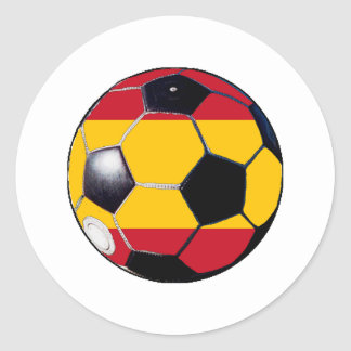 Soccer Ball Flag-Spain The MUSEUM Gifts Transp Round Sticker