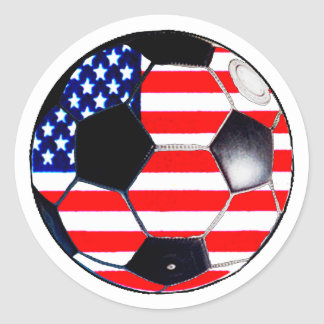 Soccer Ball Flag-USA The MUSEUM Gifts Transp Round Sticker