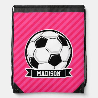 Soccer Ball on Neon Pink Stripes Drawstring Backpacks