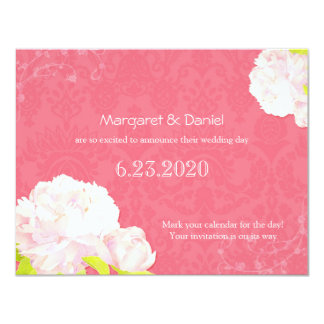 "Soft Pink Peony Wedding Save the Date 4.25"" X 5.5"" Invitation Card"