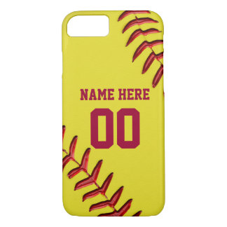 Softball iPhone 7 Cases with Your NAME and NUMBER
