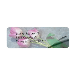 Sorry For Your Loss Pink Tulips Return Address Label