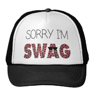Sorry I'm Swag - Funny Quote, Pink Leopard Trucker Hat