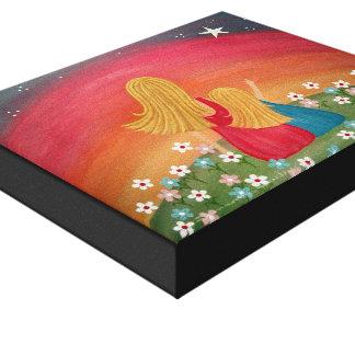 Souhaitant l'étoile - la fille de la mère 8x10 toile tendue sur châssis