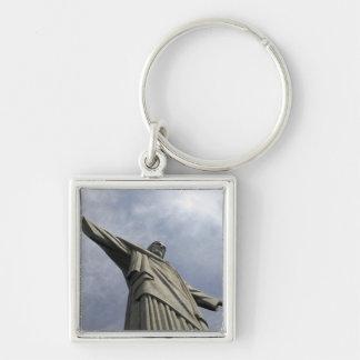 South America, Brazil, Rio de Janeiro. Christ 3 Silver-Colored Square Keychain