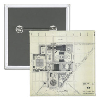 Space Needle Aerial Concept Drawing 2 Inch Square Button