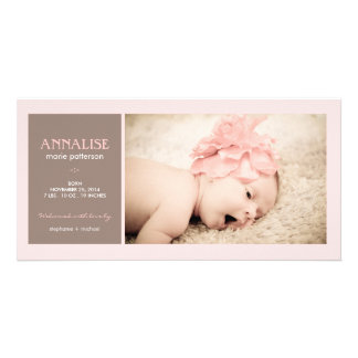 Special Moment Photo Baby Girl Birth Announcement Custom Photo Card