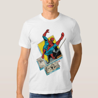 Spider-Man Swinging Out Of Comic Panels T-shirts