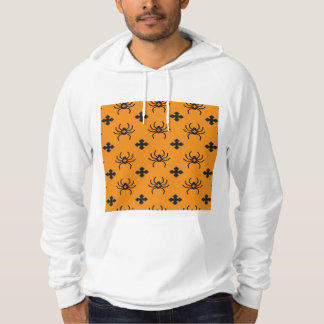 Spooky Halloween Spiders Pattern on Yellow Hooded Pullover
