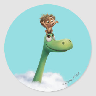 Spot And Arlo Head In Clouds Round Sticker