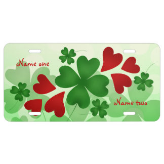 St Patricks Day hearts and clovers License Plate