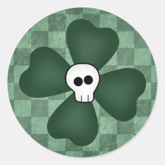 St Patricks Day skull and shamrock Round Sticker