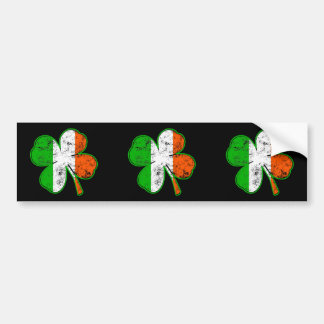 St Patricks Irish Flag Shamrock in grunge style Bumper Sticker