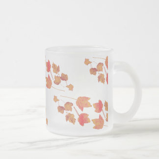 Stamped Maple Leaves Frosty 10 Oz Frosted Glass Coffee Mug
