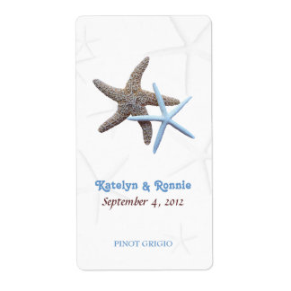 Starfish Couple Personalized Wedding Wine Labels