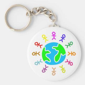 Stick World Basic Round Button Keychain