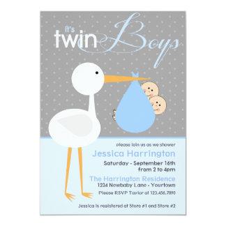 Stork Twin Blue Bundle Baby Shower Invitations