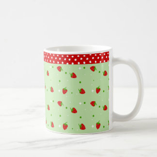 Strawberries Pattern with Green Background Classic White Coffee Mug