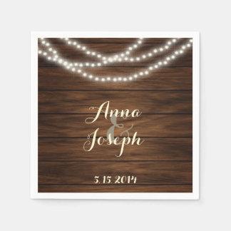 String lights barn wood napkins paper napkin