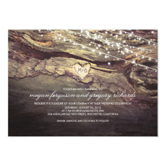 """String Lights Carved Heart Rustic Wedding 5"""" X 7"""" Invitation Card"""