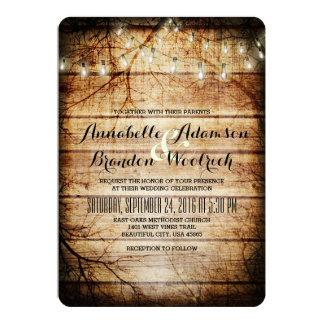 "String Lights in Tree Vintage Barn Wood Rustic 5"" X 7"" Invitation Card"