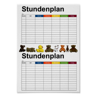 Stuffed Animals / Toys / Timetable Poster