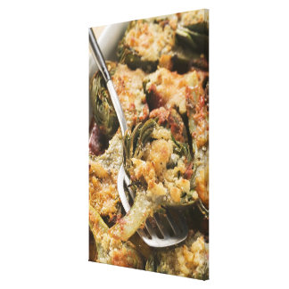 Stuffed artichokes with gratin topping stretched canvas prints