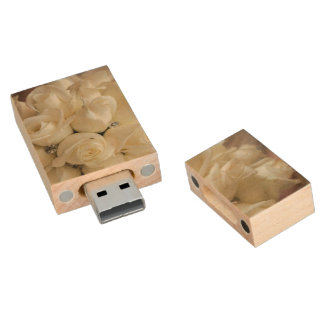 Stunning White Rose Wedding Bouquet Wood USB 2.0 Flash Drive