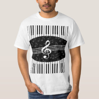Stylish Music Notes Treble Clef and Piano Keys Tees