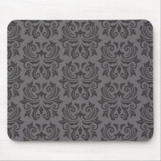 Stylish ornate dark gray damask pattern mouse pad