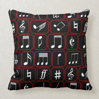 Stylish Red Black and White Geometric Music Notes Pillows