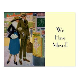Stylish Vintage Couple Change of Address Postcard