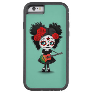 Sugar Skull Girl Playing Portuguese Flag Guitar Tough Xtreme iPhone 6 Case