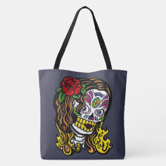 Sugar Skull Woman Rose in Hair Tote Bag