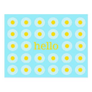Summer Daisy Blue and Yellow Hello Postcard