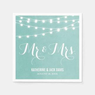 Summer String Lights Wedding Monogram Disposable Napkin