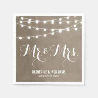 Summer String Lights Wedding Monogram Disposable Napkins