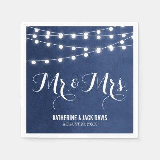Summer String Lights Wedding Monogram Paper Napkins