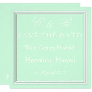 "Summermint Pastel Green Mint Wedding 5.25"" Square Invitation Card"