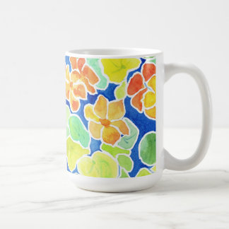 Summery Scarlet Red, Orange and Yellow Nasturtiums Classic White Coffee Mug