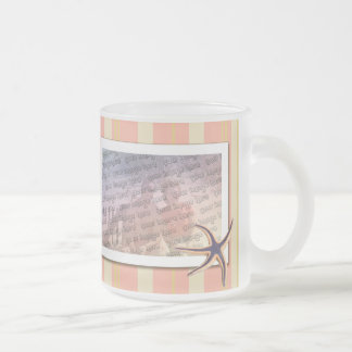 Summery stripes 10 oz frosted glass coffee mug