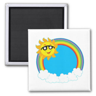Sun & Rainbow Wreath with Clouds Square Magnet