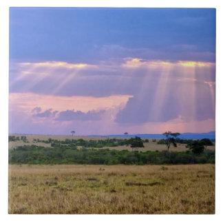 Sun setting on the Masai Mara. Ceramic Tiles